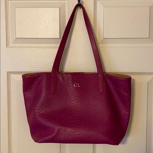 Gigi New York Purple Embossed Python Leather Tote